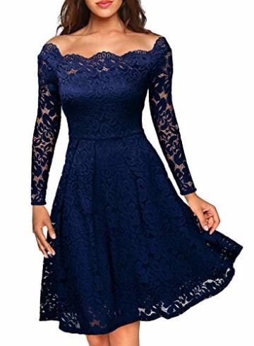 Miusol Damen Vintage 1950er Off Schulter Cocktailkleid Retro Spitzen Schwingen Pinup Rockabilly Kleid Dunkelblau Gr.S - 1