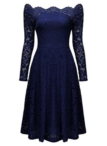 Miusol Damen Vintage 1950er Off Schulter Cocktailkleid Retro Spitzen Schwingen Pinup Rockabilly Kleid Dunkelblau Gr.S - 6