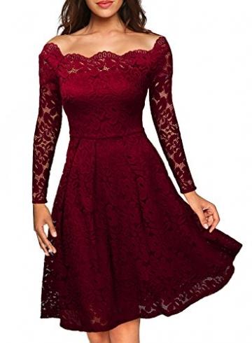 Miusol Damen Vintage 1950er Off Schulter Cocktailkleid Retro Spitzen Schwingen Pinup Rockabilly Kleid Rot Gr.M -