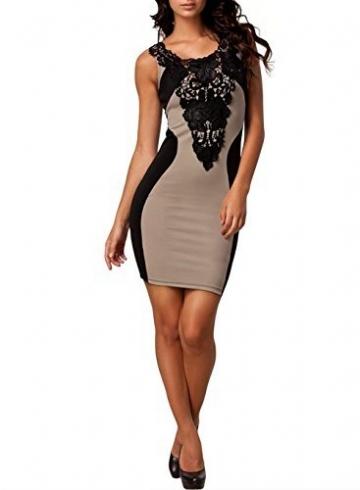 Miusol Damenkleid Tragerkleid Stretchkleid Clubwear Party Frestlich Kleider(Beige,Gr.46/XXL) - 2