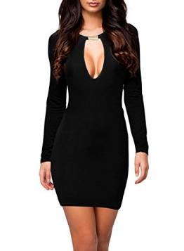 MIUSOL® Sexy Kleid Langarm Celeb Stil Damen Etuikleid Business Stretch Party Cocktail Pencil figurbetontes Kleid, Schwarz/Rot Gr.34-46 -