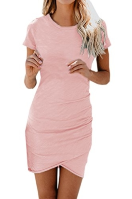 Moceal Damen Enges Kleid Sommerkleid Rundhals Kurzarm Kleid Bodycon Unregelmäßig Minikleid- Gr. Medium, Rosa - 1