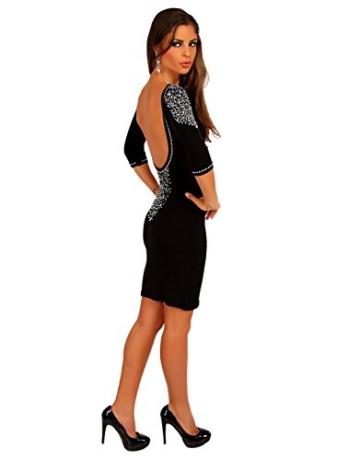 Modefaszination Damen Kleid Partykleid Sexy Figurbetontes Minikleid mit Strass-Steinen 12767 (S (34/36), Schwarz) - 2