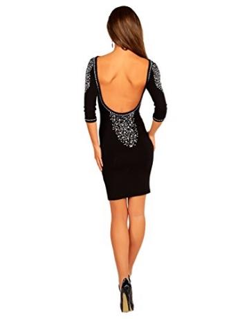 Modefaszination Damen Kleid Partykleid Sexy Figurbetontes Minikleid mit Strass-Steinen 12767 (S (34/36), Schwarz) - 4