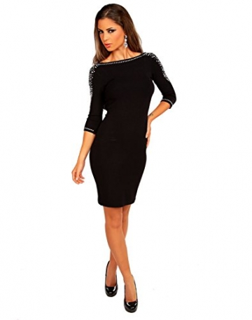 Modefaszination Damen Kleid Partykleid Sexy Figurbetontes Minikleid mit Strass-Steinen 12767 (S (34/36), Schwarz) - 1