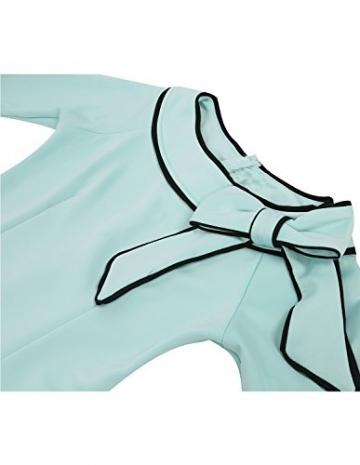 MODETREND Damen Kleider mit Bogen 1/2-Arm Etui Elastisch Tulpenkleid Wort Schulter Bleistiftrock Abendkleid, Tuerkis, Gr.M -