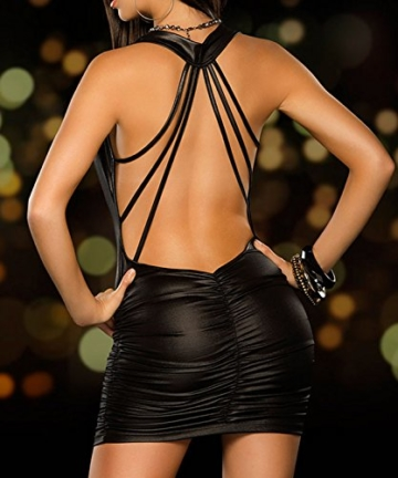 Moon Angle PVC Leder Latex Kleid Porno Erwachsene Geschlechtsprodukte Halter Ärmellos Catsuit Bondage Plissee Kleid Erotische Dessous Clubwear Kostüm für Frauen (Schwarz) - 2