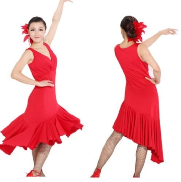 Motony Fashion Sleeveless V-Neck Latin Dance Dress Rumba Skirt One Piece Stage Costume Red S - 2