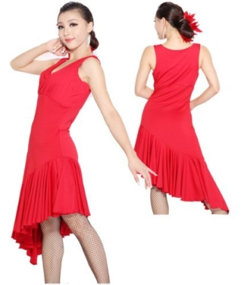Motony Fashion Sleeveless V-Neck Latin Dance Dress Rumba Skirt One Piece Stage Costume Red S - 3