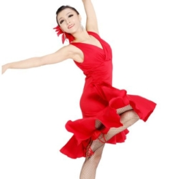 Motony Fashion Sleeveless V-Neck Latin Dance Dress Rumba Skirt One Piece Stage Costume Red S - 1