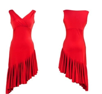 Motony Fashion Sleeveless V-Neck Latin Dance Dress Rumba Skirt One Piece Stage Costume Red S - 5