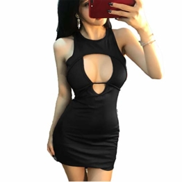 Mr King-Clothing Sexy Bodycon Kleid, Frauen Party Club Kleid Normallack Verband Mini Party Kleid reizvolle Nachtklub Ausstattung (Schwarz,S) - 1