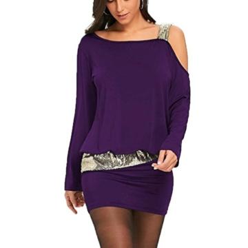 MRULIC Damen Fashion Damen Schulterfrei Strapless Pailletten Bling Mini Blouson Kleid(Lila,EU-38/CN-M) - 2