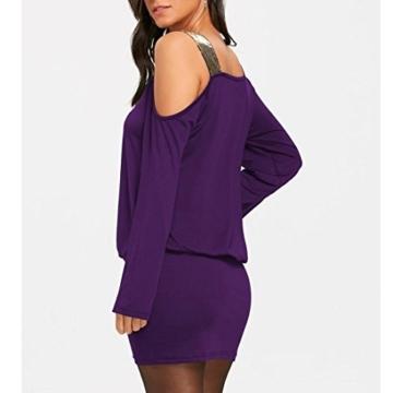 MRULIC Damen Fashion Damen Schulterfrei Strapless Pailletten Bling Mini Blouson Kleid(Lila,EU-38/CN-M) - 3