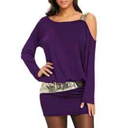 MRULIC Damen Fashion Damen Schulterfrei Strapless Pailletten Bling Mini Blouson Kleid(Lila,EU-38/CN-M) - 1