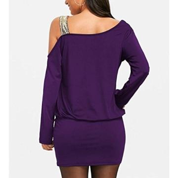 MRULIC Damen Fashion Damen Schulterfrei Strapless Pailletten Bling Mini Blouson Kleid(Lila,EU-38/CN-M) - 4