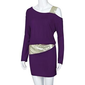 MRULIC Damen Fashion Damen Schulterfrei Strapless Pailletten Bling Mini Blouson Kleid(Lila,EU-38/CN-M) - 5