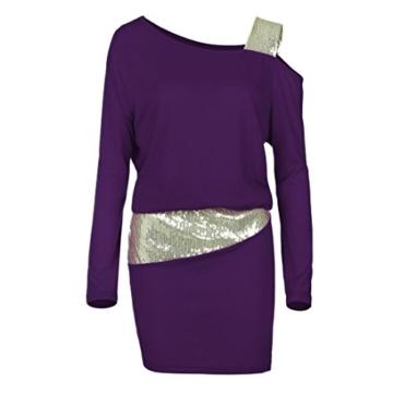 MRULIC Damen Fashion Damen Schulterfrei Strapless Pailletten Bling Mini Blouson Kleid(Lila,EU-38/CN-M) - 6