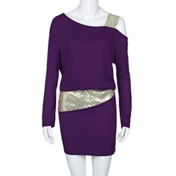 MRULIC Damen Fashion Damen Schulterfrei Strapless Pailletten Bling Mini Blouson Kleid(Lila,EU-38/CN-M) - 7