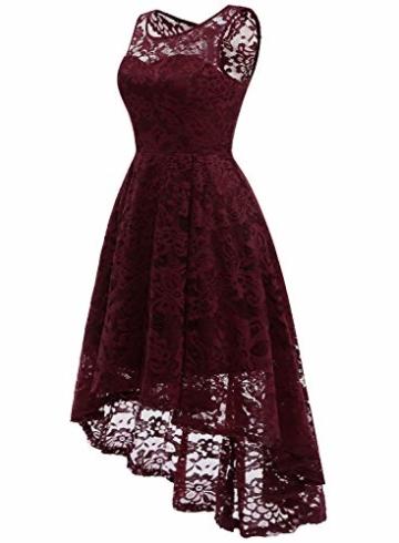 MUADRESS MUA6006 Elegant Kleid aus Spitzen Damen Ärmellos Unregelmässig Cocktailkleider Party Ballkleid Burgundy XS - 2