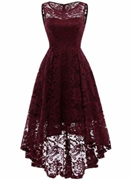 MUADRESS MUA6006 Elegant Kleid aus Spitzen Damen Ärmellos Unregelmässig Cocktailkleider Party Ballkleid Burgundy XS - 1