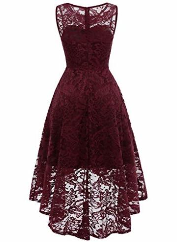 MUADRESS MUA6006 Elegant Kleid aus Spitzen Damen Ärmellos Unregelmässig Cocktailkleider Party Ballkleid Burgundy XS - 4
