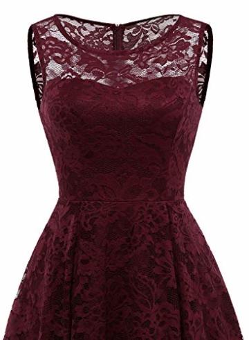MUADRESS MUA6006 Elegant Kleid aus Spitzen Damen Ärmellos Unregelmässig Cocktailkleider Party Ballkleid Burgundy XS - 5