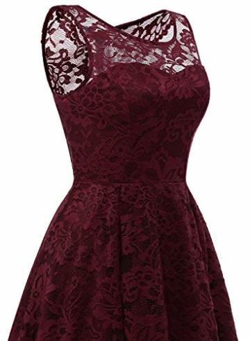 MUADRESS MUA6006 Elegant Kleid aus Spitzen Damen Ärmellos Unregelmässig Cocktailkleider Party Ballkleid Burgundy XS - 6
