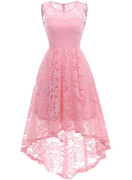 MUADRESS MUA6006 Elegant Kleid aus Spitzen Damen Ärmellos Unregelmässig Cocktailkleider Party Ballkleid Rosa S - 1