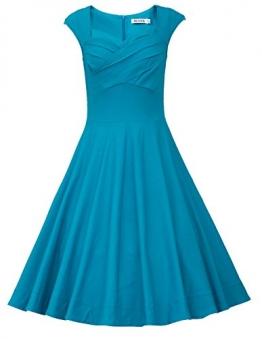 MUXXN Damen Retro 1950er Kleider Swing Kleid Vintage Rockabilly Kleid Partykleid Cocktailkleid(M, Turquoise) -