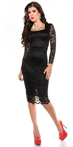 MyNextDress Sexy Spitzen Midi Dress Größe S M 36 38 Schwarz (S/36) - 3