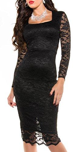 MyNextDress Sexy Spitzen Midi Dress Größe S M 36 38 Schwarz (S/36) - 5