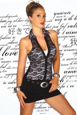 Neckholder-Kleid schwarz/weiß