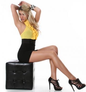 Neckholder-Minikleid elegant mit Rüschen (ohne Gürtel) Einheitsgröße (32-38), gelb -