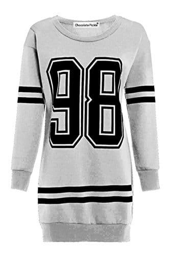 Neue Damen Anzahl 98 Baseball Stripe Langarm Thermische Sweatshirt Minikleid 44-46 Grey -
