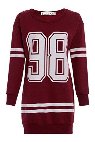Neue Damen Anzahl 98 Baseball Stripe Langarm Thermische Sweatshirt Minikleid 44-46 Wine - 1