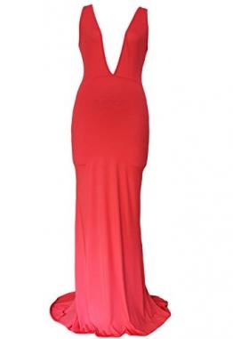 Neue Damen Rot Ärmellos Tief V-Ausschnitt Lang Abendkleid Gewand Cocktail Party Ball Kleid tragen Größe L 12-14 -