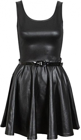 Neue Frauen Shinny Wetlook PVC Röcke Ober kleid 48-50 Wet Look Skater Dress -