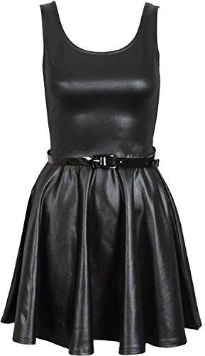 Neue Frauen Shinny Wetlook PVC Röcke Ober kleid 48-50 Wet Look Skater Dress -