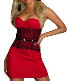 Neue Woman's rot mit Schößchen, Sexy Bandeau Mini Kleid Abendkleid mit Spitze Party Clubwear Tanz, Größe L, 12 - 1
