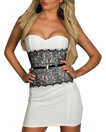 Neue Woman's weiß mit Schößchen, Sexy Bandeau Clubwear Mini Kleid Dress Abendkleid mit Spitze Gr 12 Party Tanzen - 1
