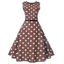 Neun Vintage Kleid,Yesmile Jahre Kleider Damen Polka Dots Solide Kappen Hülse Retro Vintage Sommerkleid Rot Sexy Party Picknick KleidRundhals Abendkleid Prom Swing Kleid (S, Braun) - 1