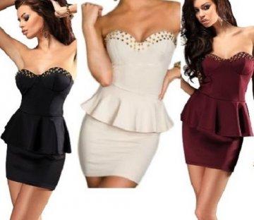 Ninex Damen Minikleid in trägerloser Bandeau-Form Elfenbein 38 -