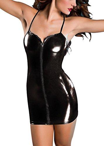Ninimour Damen Gothic Metallische Wetlook PVC Ärmellose Kleider - 1