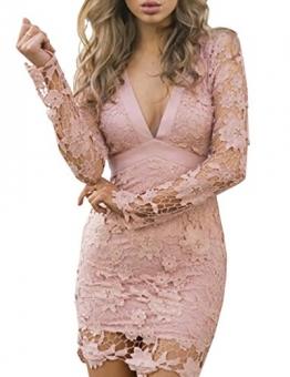 Ninimour Damen Lace Häckeln Rückenfreie V Ausschnitt Bodycon Kleider Rosa M -