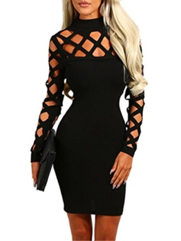 Ninimour Damen Langarm Lace Up Hollow Out Slim Fit Bodycon Kleider Schwarz L - 1
