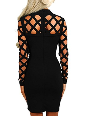 Ninimour Damen Langarm Lace Up Hollow Out Slim Fit Bodycon Kleider Schwarz L - 2