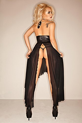 Noir Handmade Clubwear Damen-Kleid aus Tüll und Wetlook Partykleidung Größen S - 3