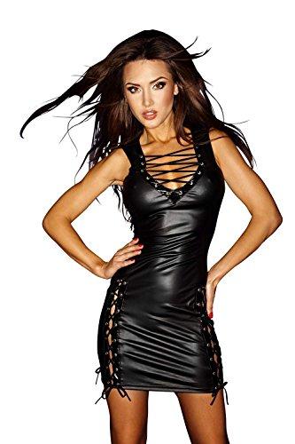 Noir Handmade Clubwear Kleid F079 schwarz - Wetlookkleid Wetlook Minikleid Größen 38 - 1