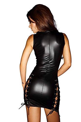 Noir Handmade Clubwear Kleid F079 schwarz - Wetlookkleid Wetlook Minikleid Größen 38 - 2